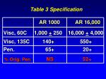 table 3 specification