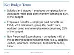 key budget terms