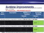 runtime improvements