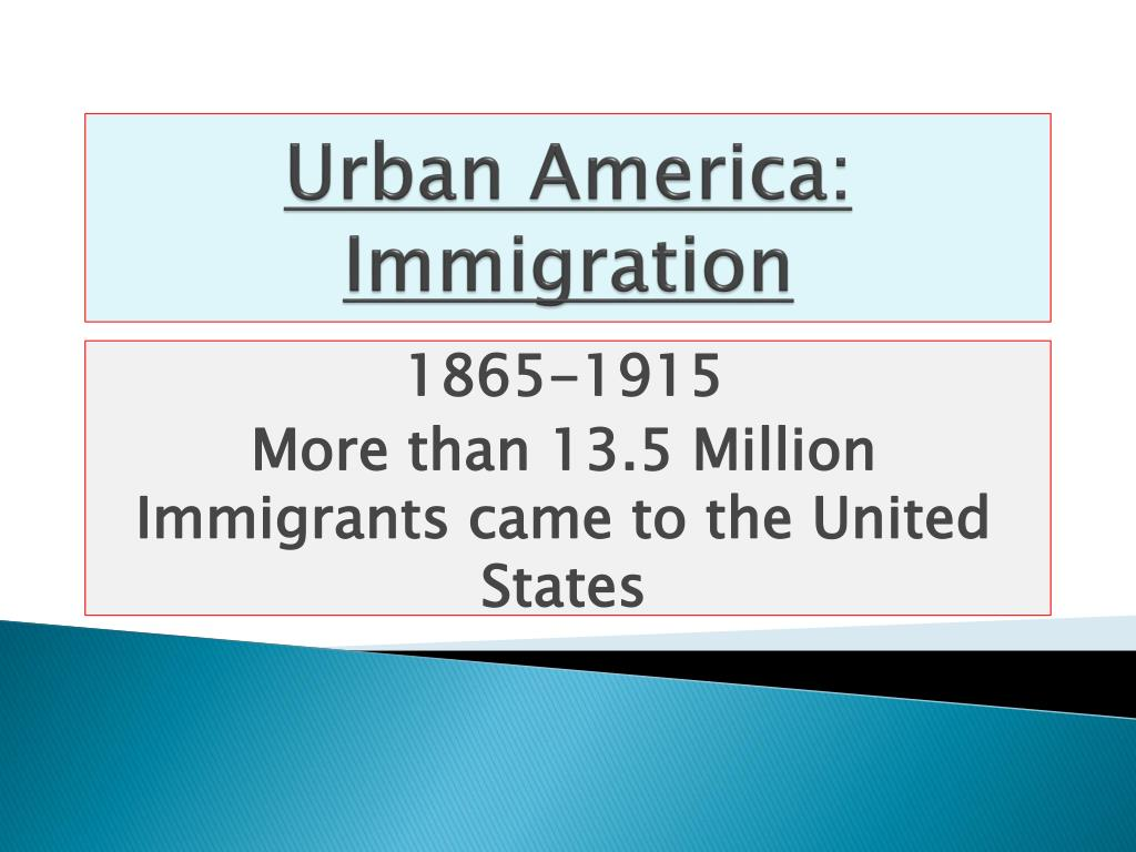 urban america immigration l.