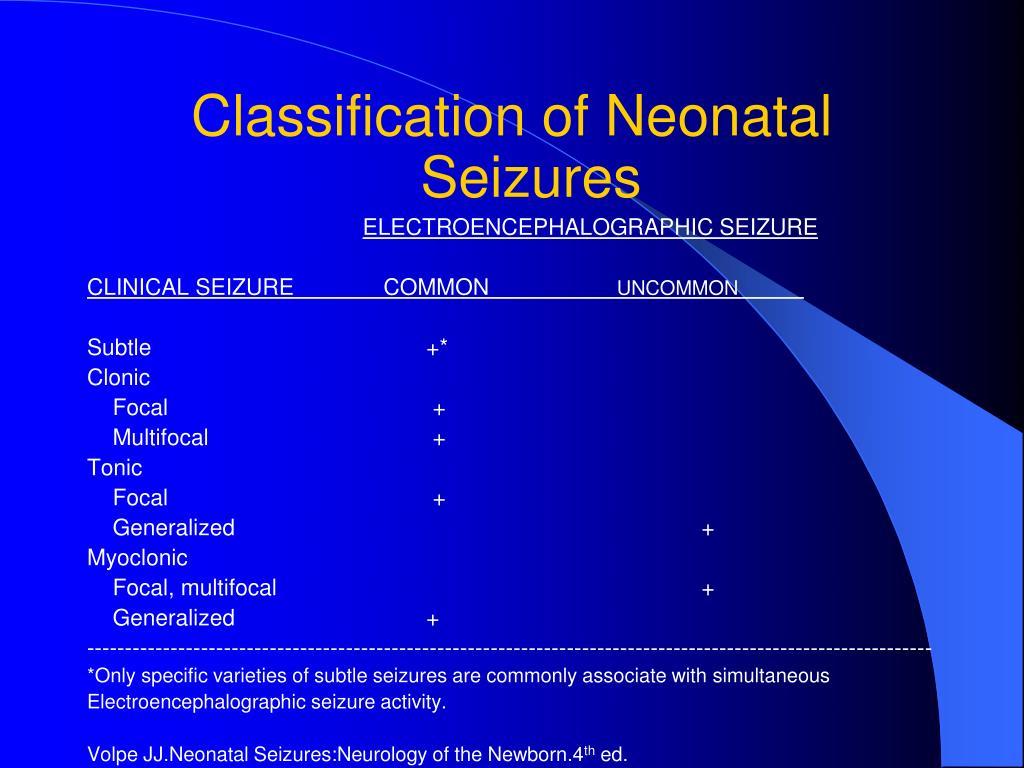 Classification of Neonatal Seizures