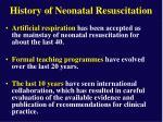 history of neonatal resuscitation