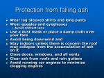 protection from falling ash