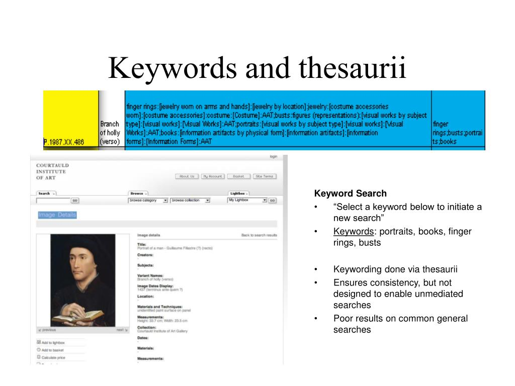 Keywords and thesaurii