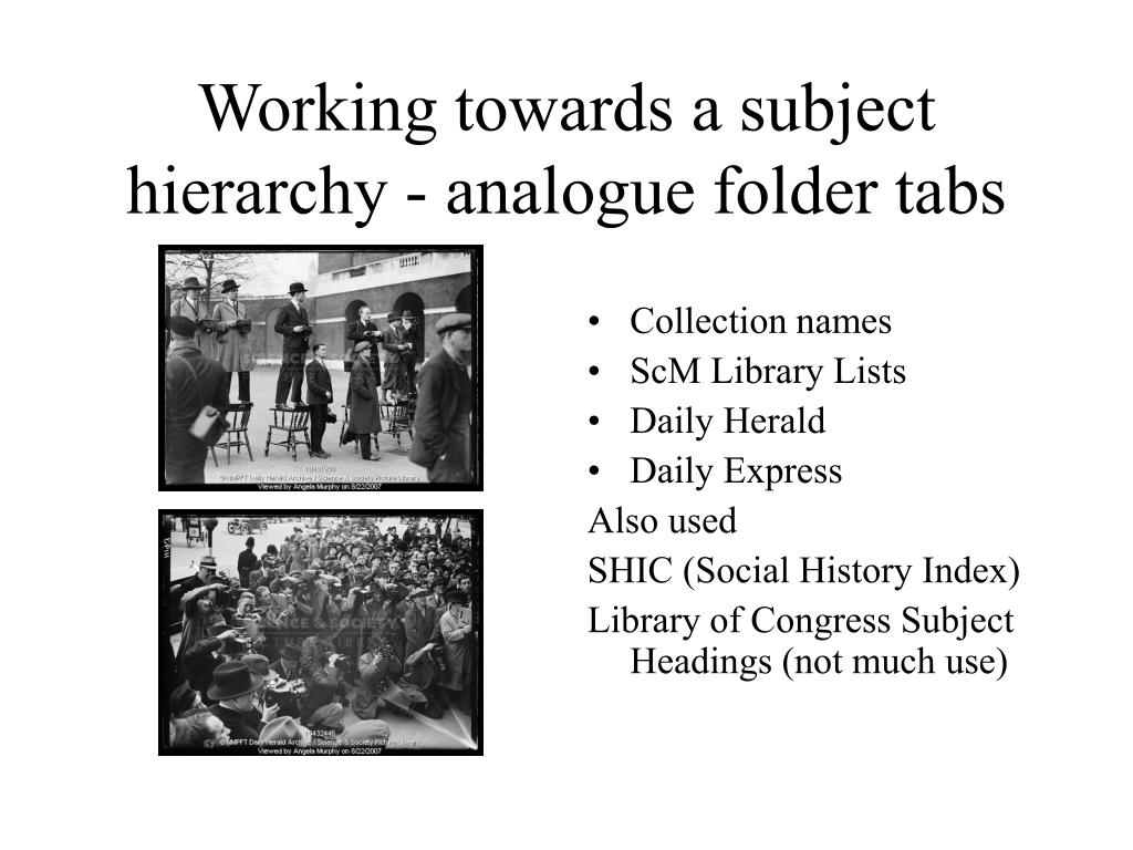 Working towards a subject hierarchy - analogue folder tabs
