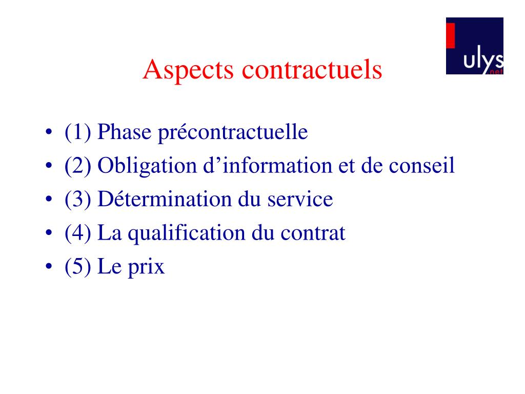 Aspects contractuels
