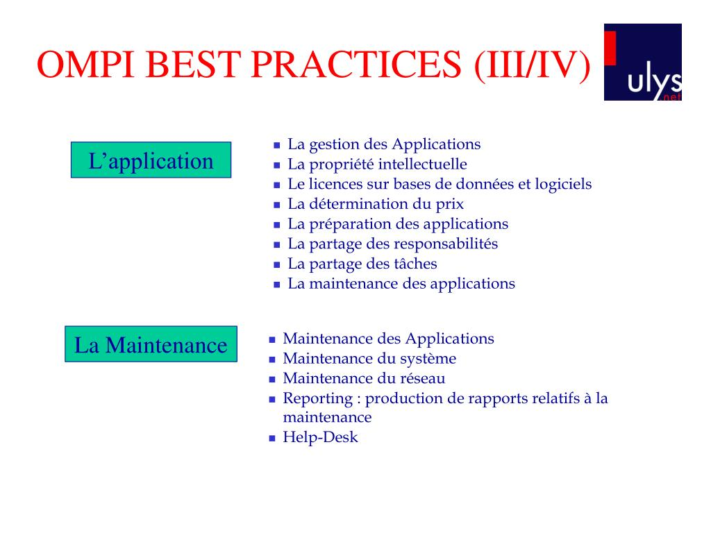 OMPI BEST PRACTICES (III/IV)