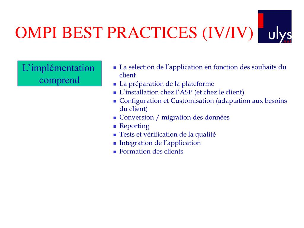 OMPI BEST PRACTICES (IV/IV)