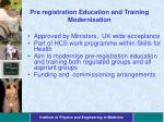 pre registration education and training modernisation