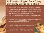 as expected support for a county community college tax is mixed