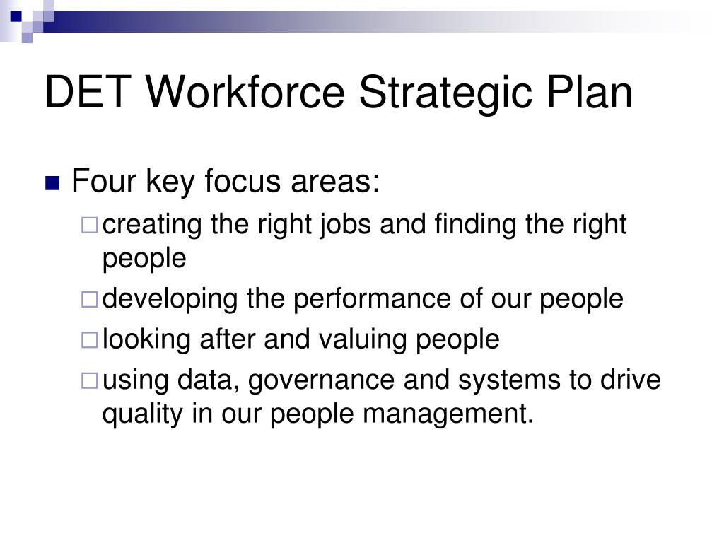 DET Workforce Strategic Plan