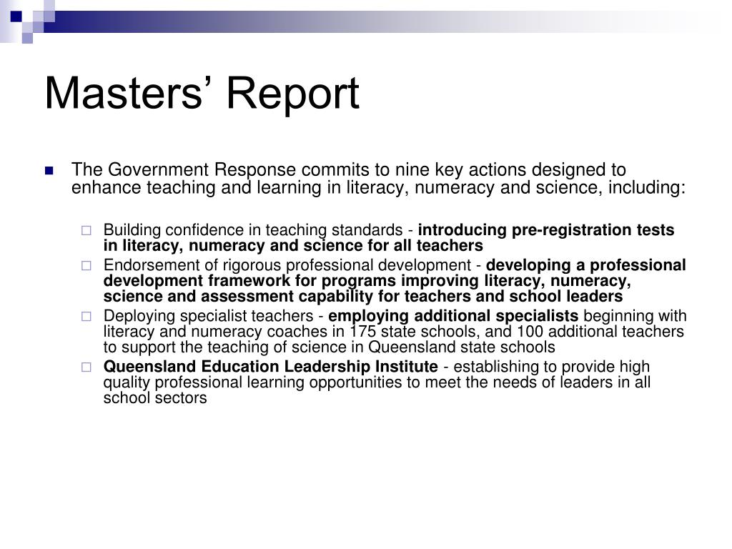 Masters' Report