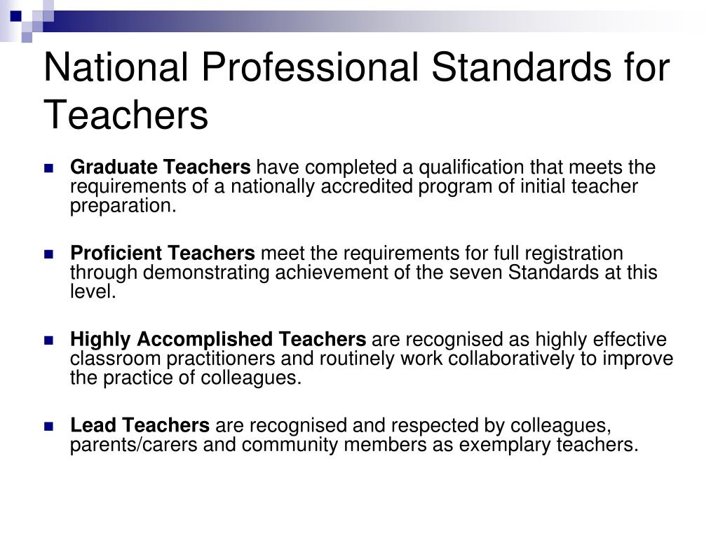 National Professional Standards for Teachers