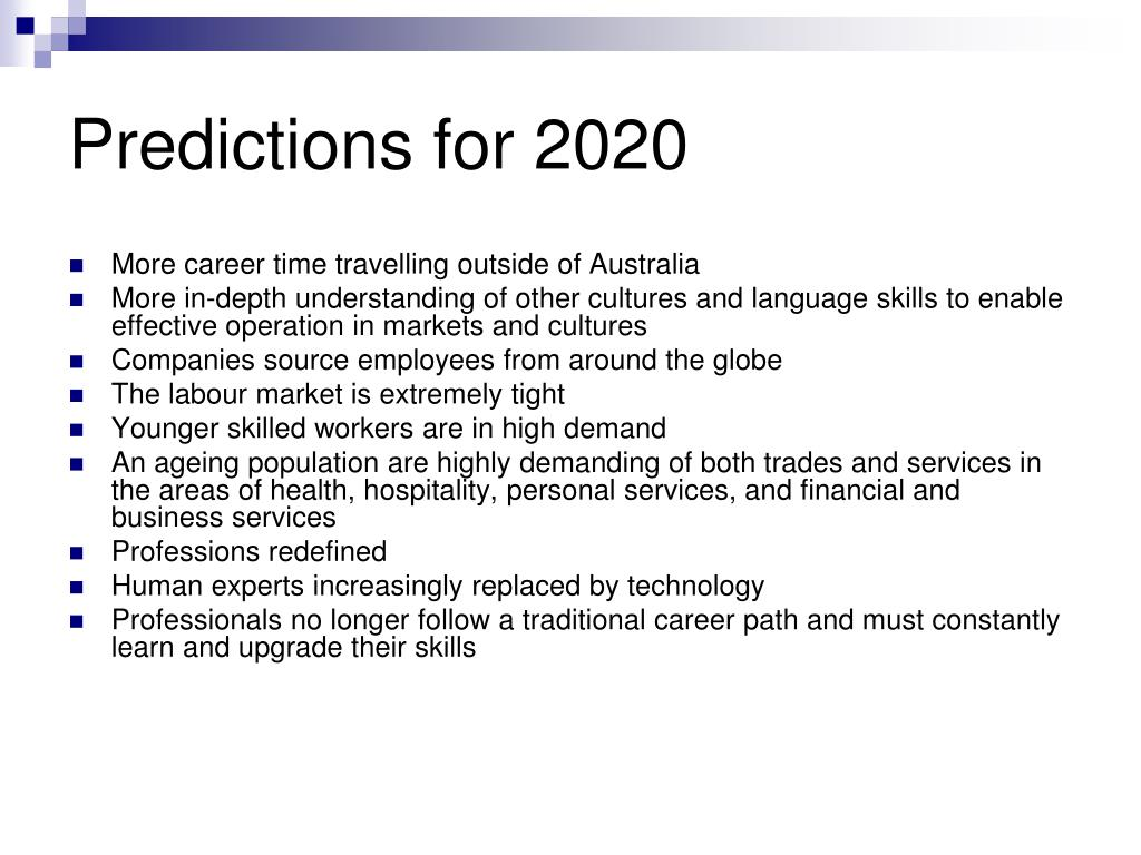 Predictions for 2020