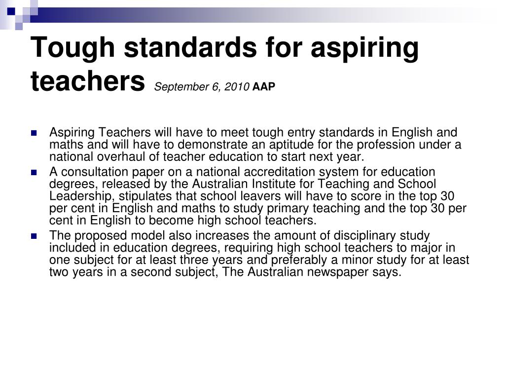 Tough standards for aspiring teachers