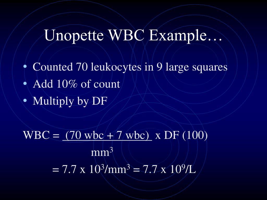 Unopette WBC Example…