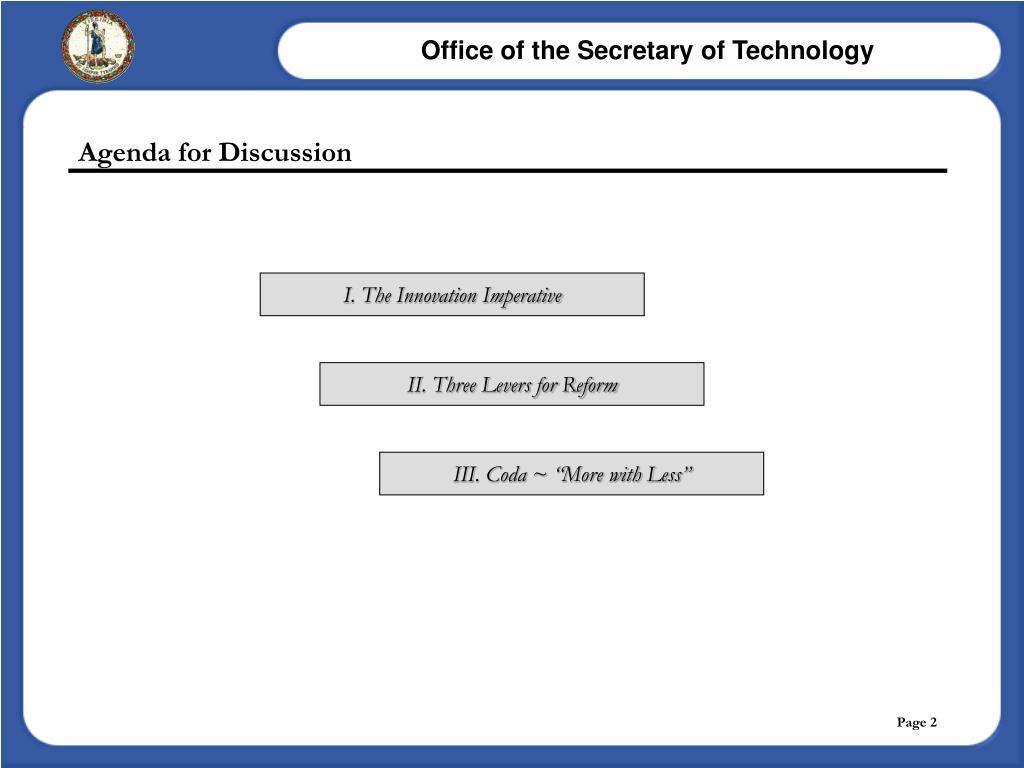 Agenda for Discussion