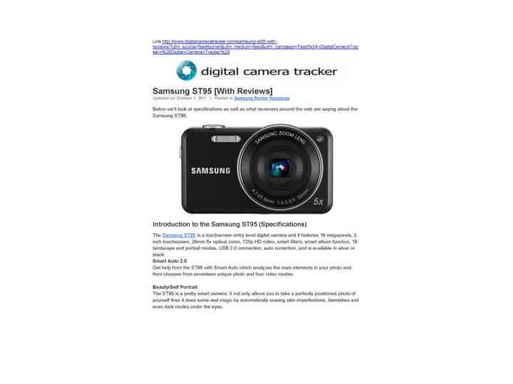 Samsung st95 with reviews digital camera tracker