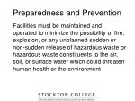 preparedness and prevention