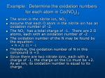 example determine the oxidation numbers for each atom in co no 2 2