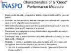 characteristics of a good performance measure