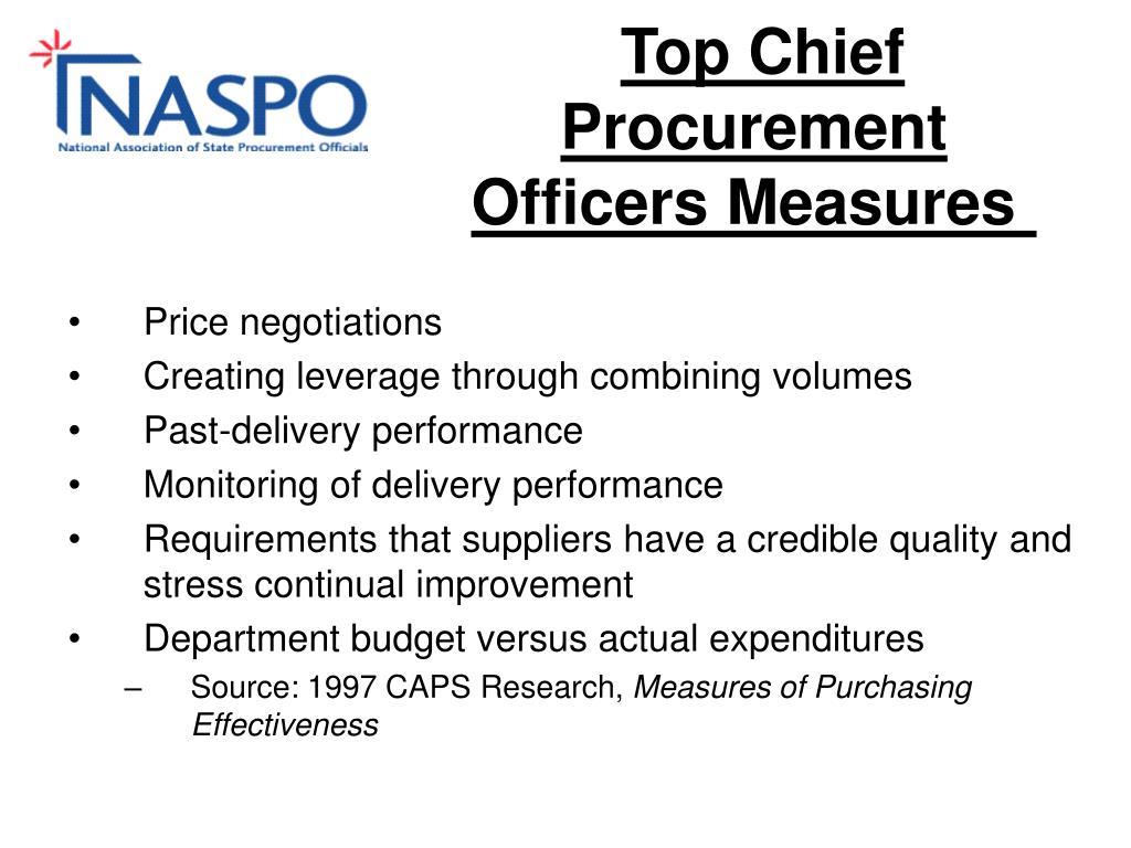 Top Chief Procurement Officers Measures