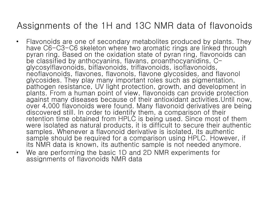 assignments of the 1h and 13c nmr data of flavonoids l.