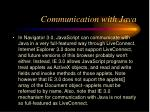 communication with java
