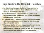 signification du r sultat d analyse