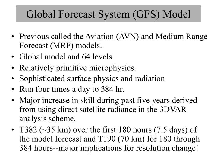 global forecast system gfs model n.
