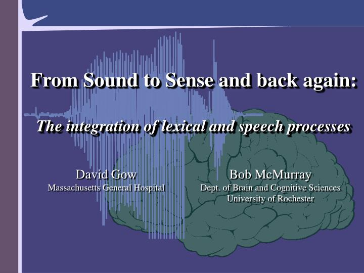 From Sound to Sense and back again: