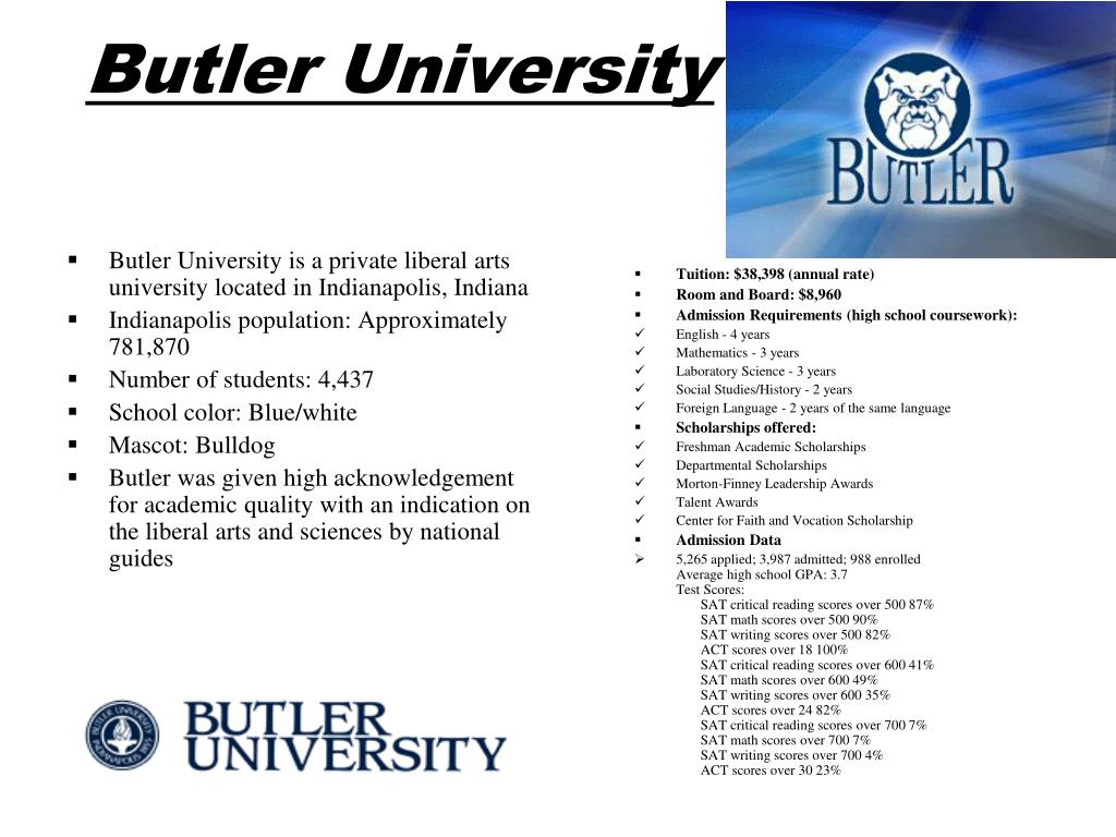 Butler University is a private liberal arts university located in Indianapolis, Indiana