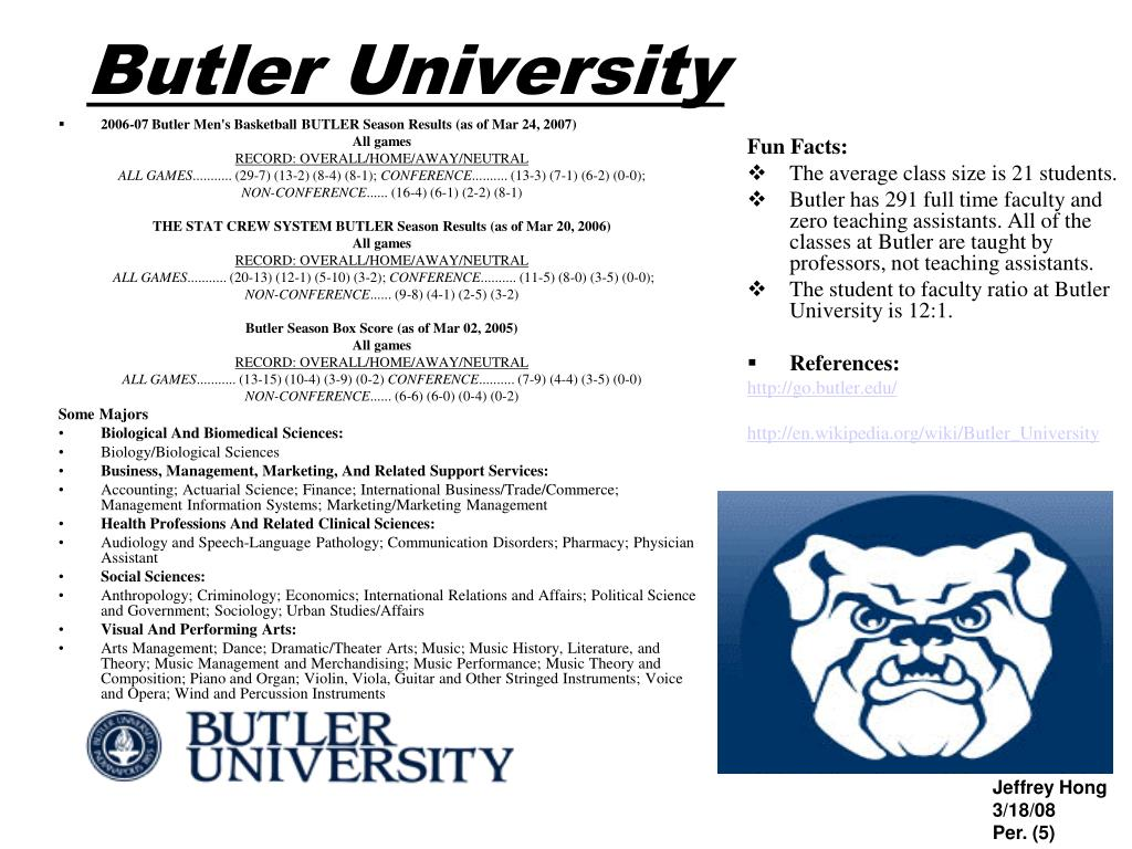 2006-07 Butler Men's Basketball BUTLER Season Results (as of Mar 24, 2007)