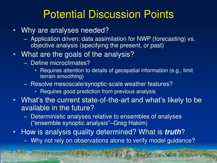 Potential Discussion Points