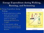 energy expenditure during walking running and swimming1