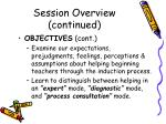 session overview continued