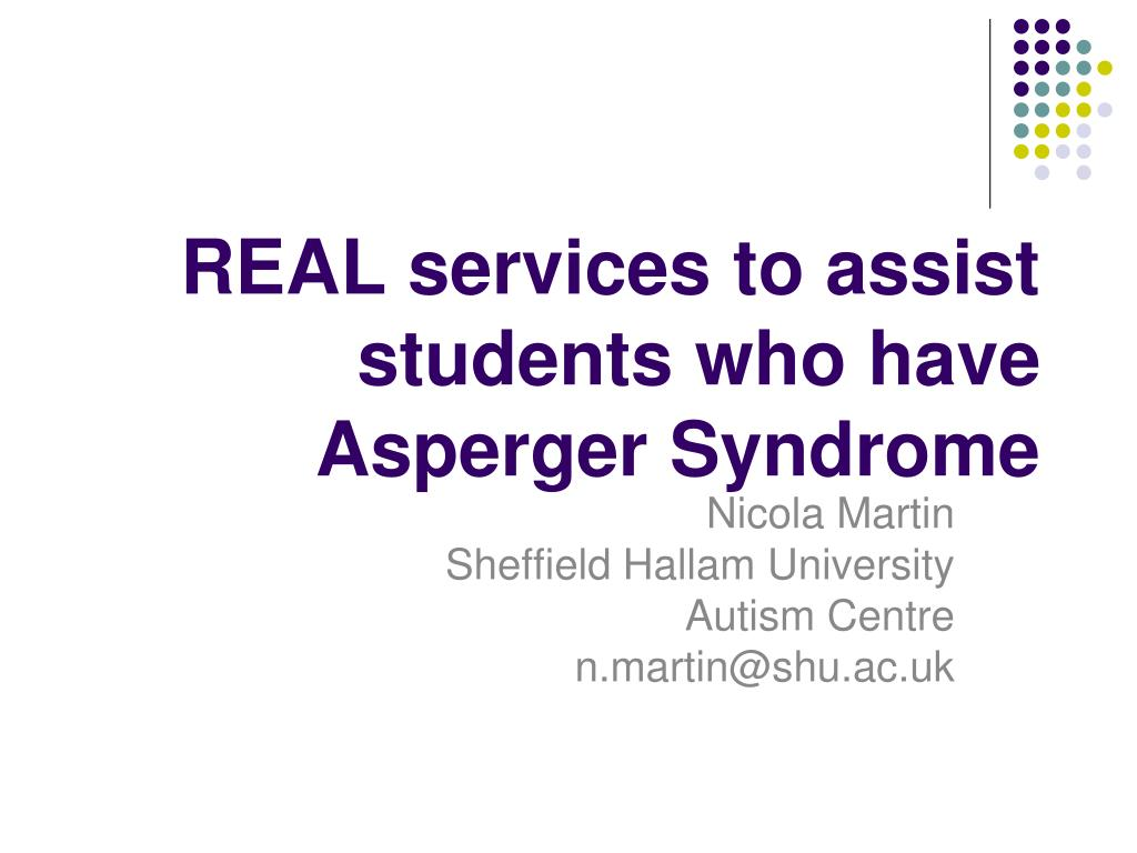 REAL services to assist students who have Asperger Syndrome