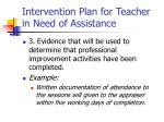 intervention plan for teacher in need of assistance10