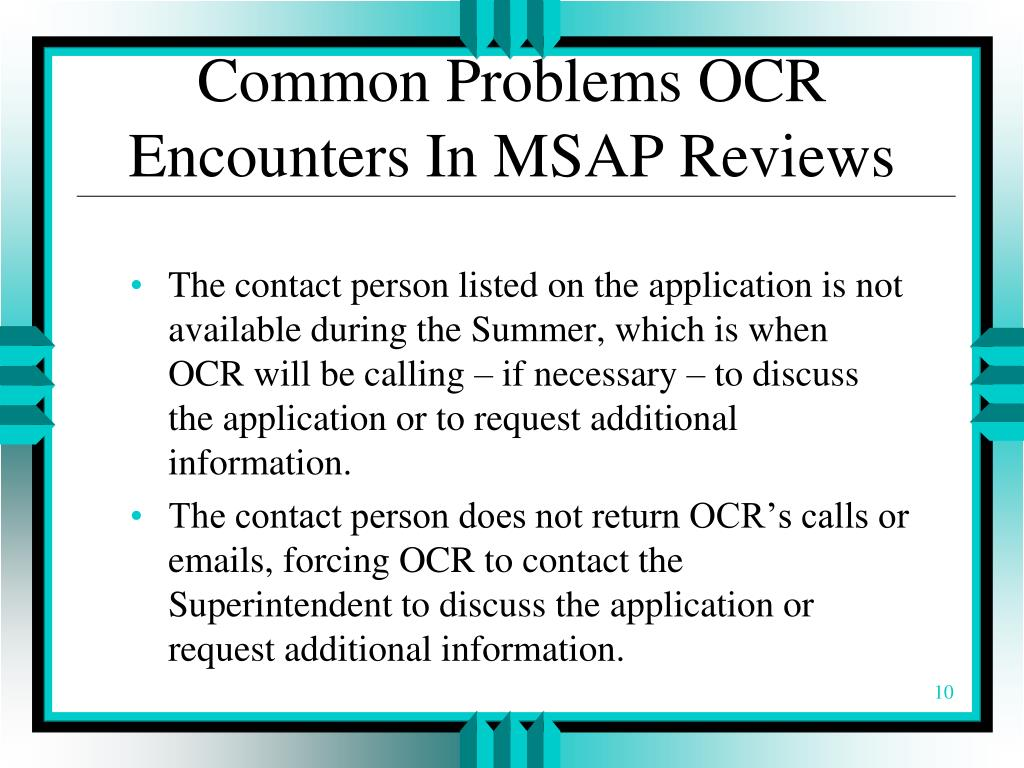 Common Problems OCR Encounters In MSAP Reviews