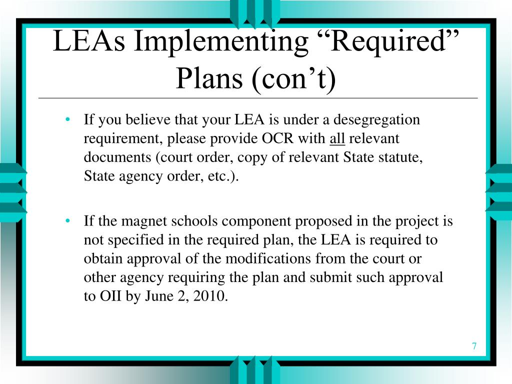 "LEAs Implementing ""Required"" Plans (con't)"
