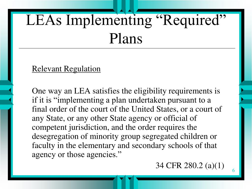"LEAs Implementing ""Required"" Plans"