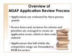 overview of msap application review process