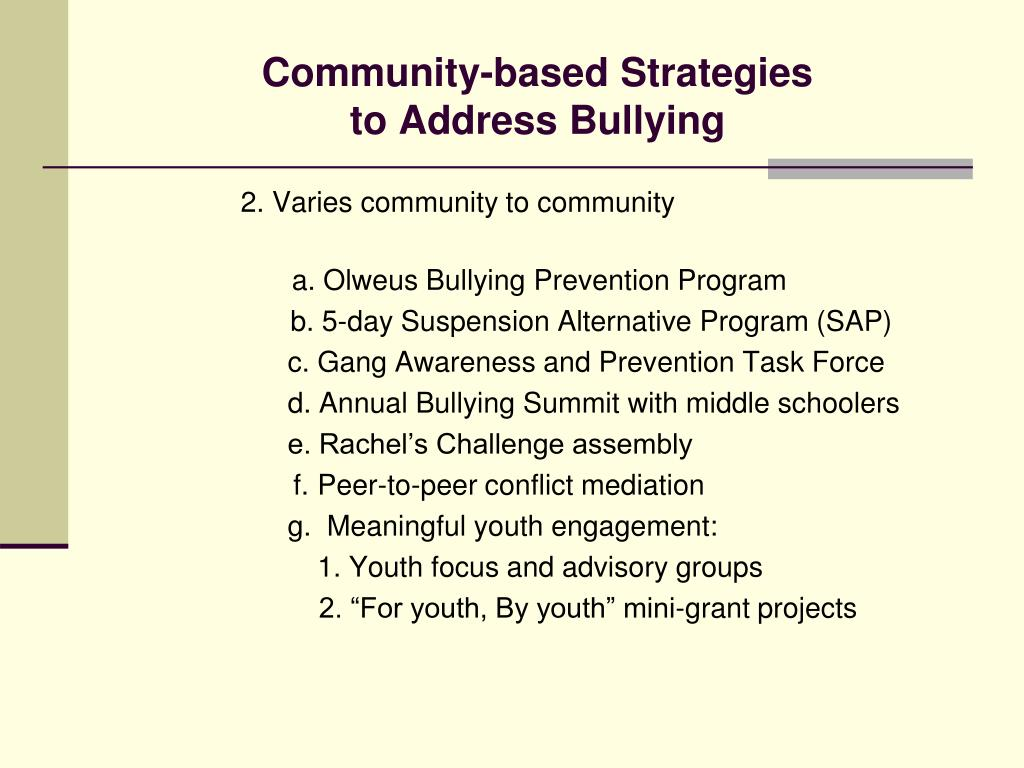 Community-based Strategies