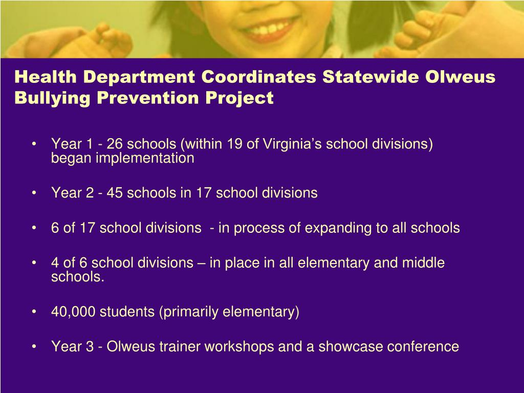 Health Department Coordinates Statewide Olweus Bullying Prevention Project