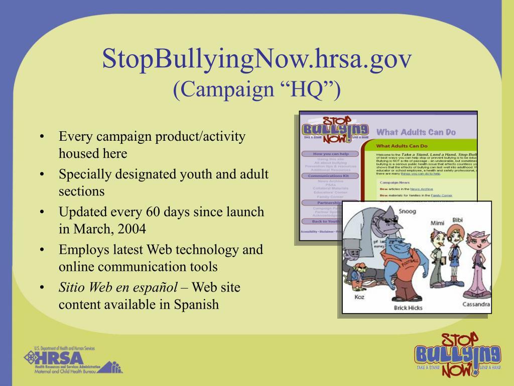 StopBullyingNow.hrsa.gov