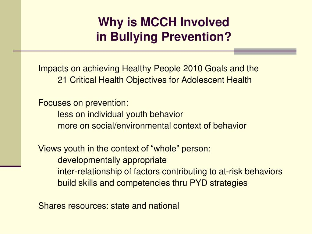 Why is MCCH Involved