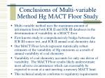 conclusions of multi variable method hg mact floor study