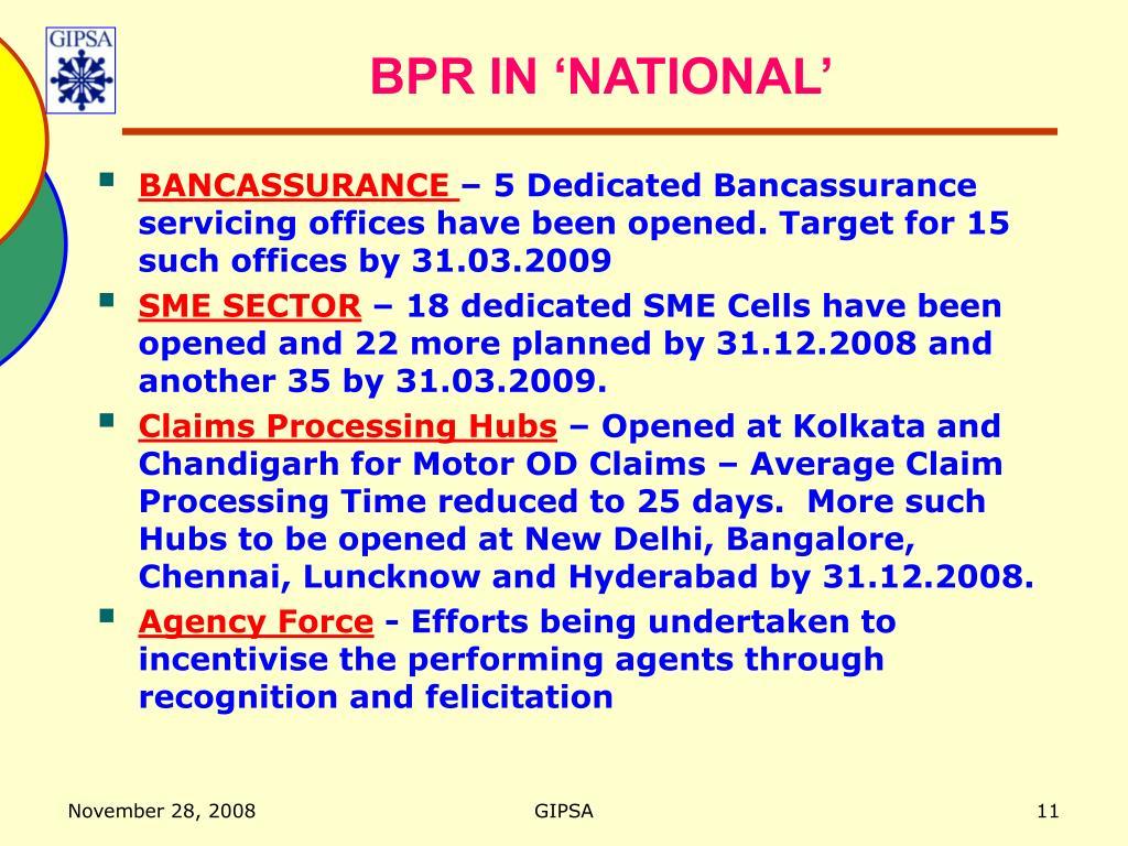 BPR IN 'NATIONAL'