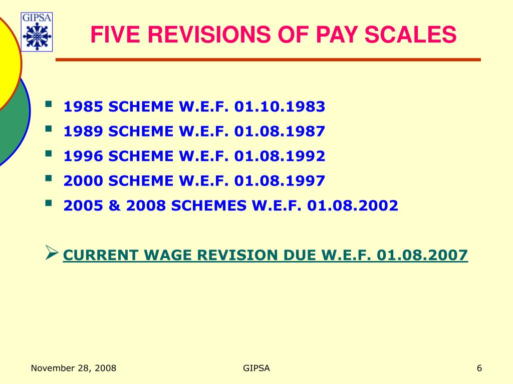 FIVE REVISIONS OF PAY SCALES