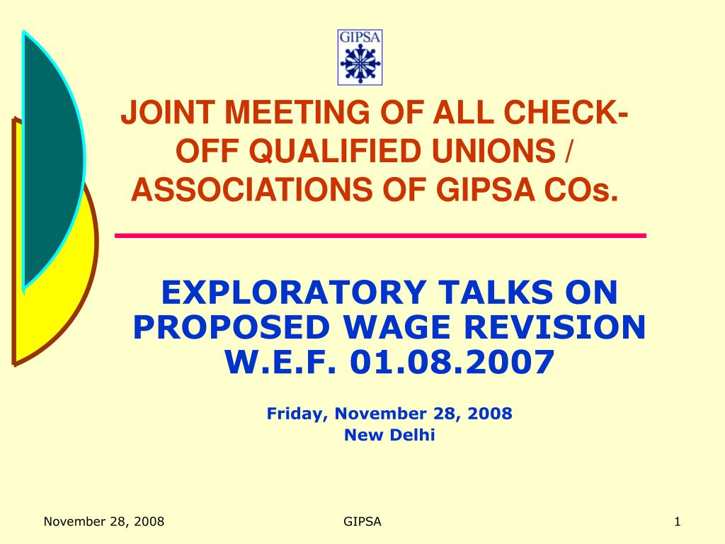 JOINT MEETING OF ALL CHECK-OFF QUALIFIED UNIONS / ASSOCIATIONS OF GIPSA COs.